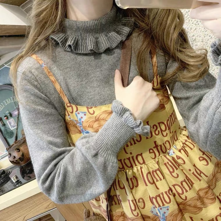 WHITE/RED/GRAY CUTE SOFT KNIT SWEATER BY59999