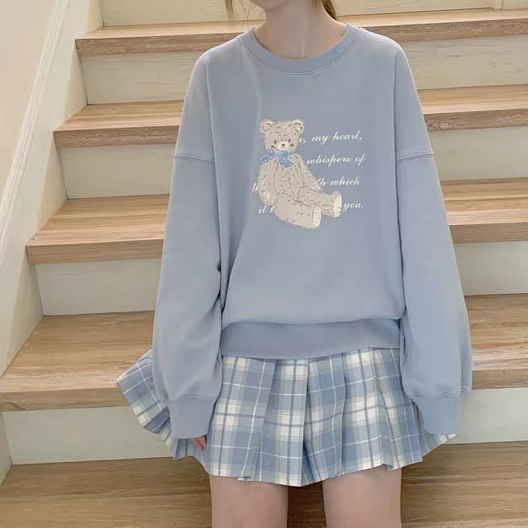 CUTE BLUE BEAR SWEATSHIRT BY46666