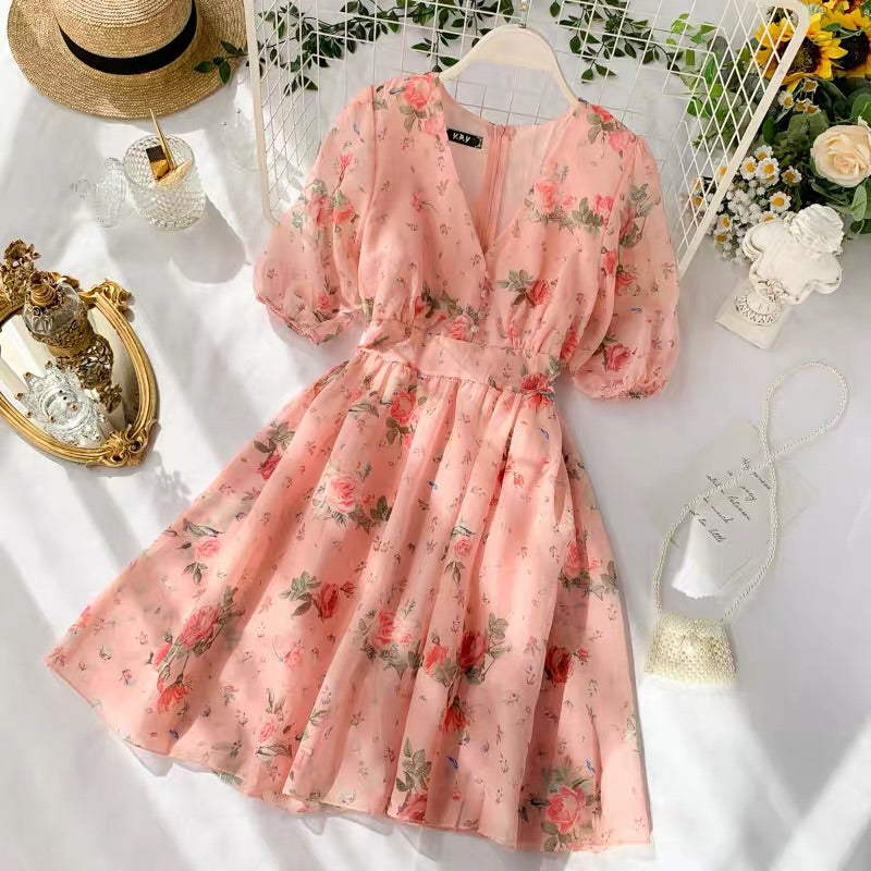 SWEET PINK FLOWER PRINT V-COLLAR DRESS BY32202