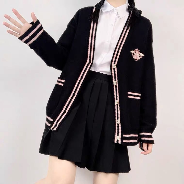 JAPANESE CUTE MAGIC BADGE EMBROIDERY JK SWEATER BY98555