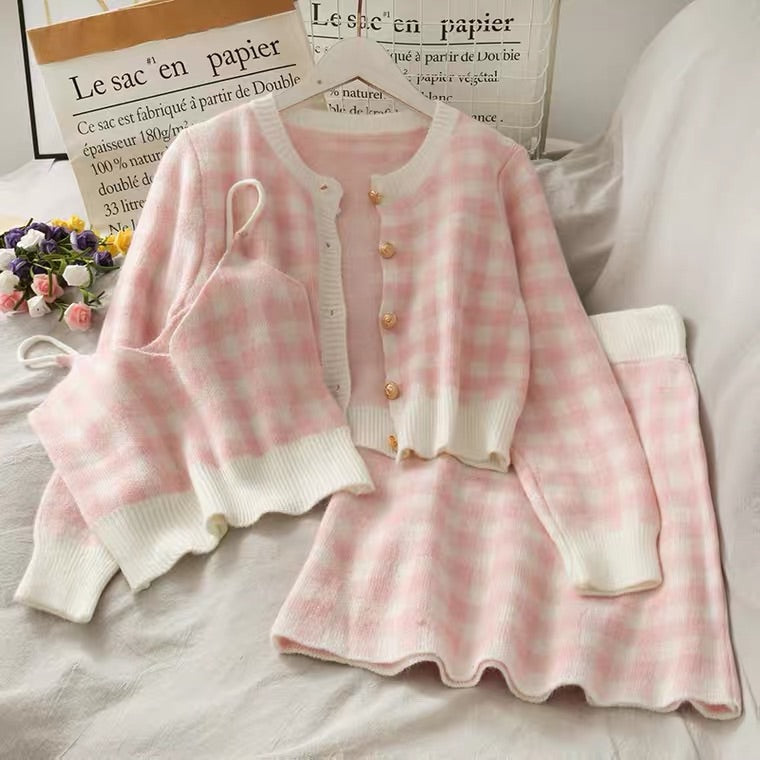 SWEET PLAID 3 PIECES SUIT BY97333