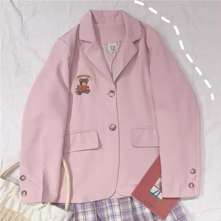 CUTE BEAR EMBROIDERY PASTEL PINK COAT BY97888