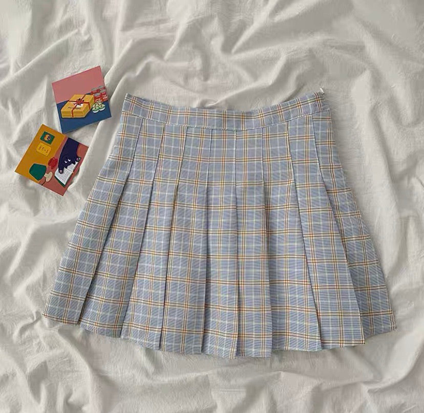 7 COLORS PREPPY STYLE PLAID PLEATED SKIRT BY89111