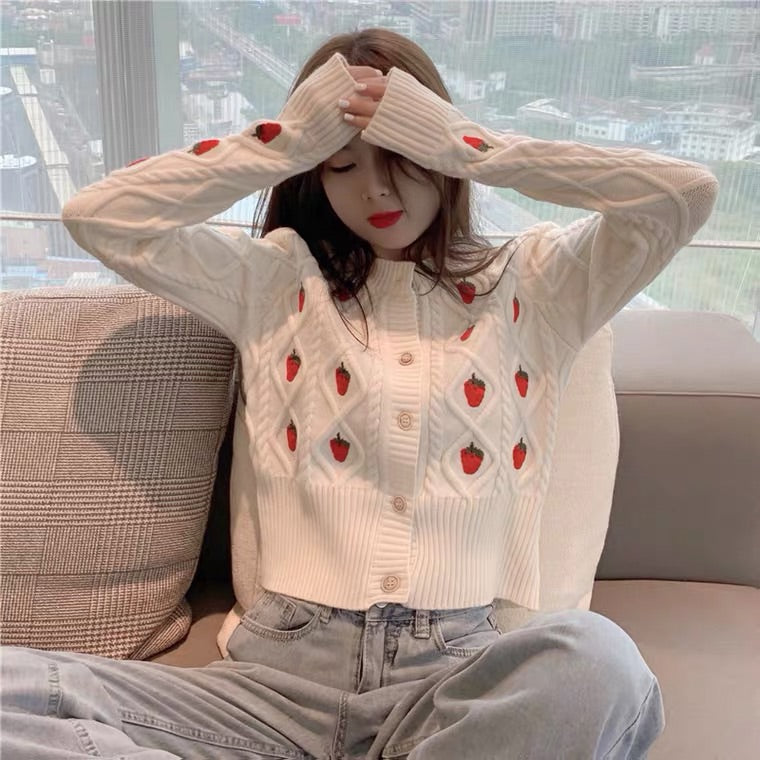 INS HOT CUTE STRAWBERRY SWEATER 96222