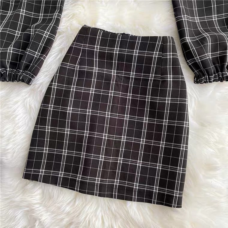 NEW FASHION PLAID SHORT SHIRT & SKIRT BY96555
