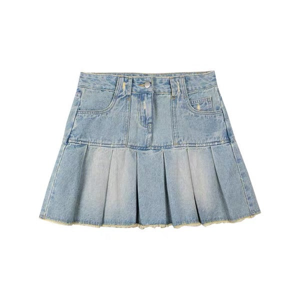 VINTAGE RETRO HIGH WAIST PLEATED DENIM SKIRT BY50016