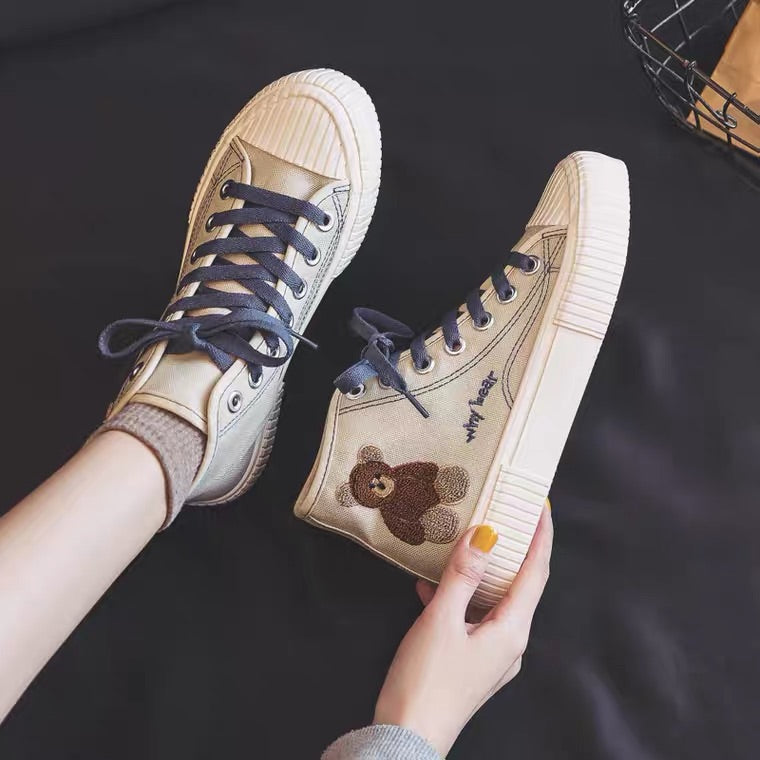 INS ULZZANG CUTE BEAR CANVAS SHOES BY92999