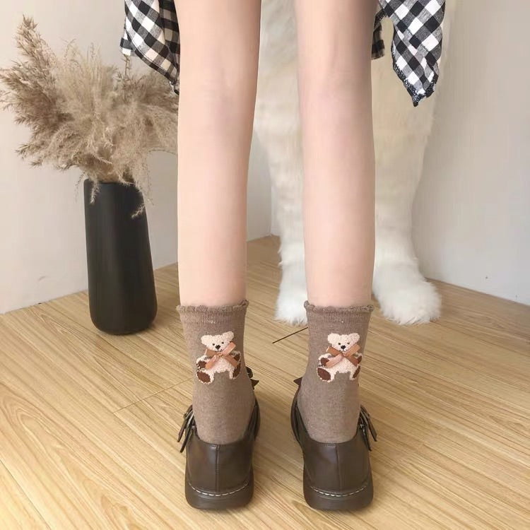 2 PAIRS CUTE BEAR SOCKS BY64031