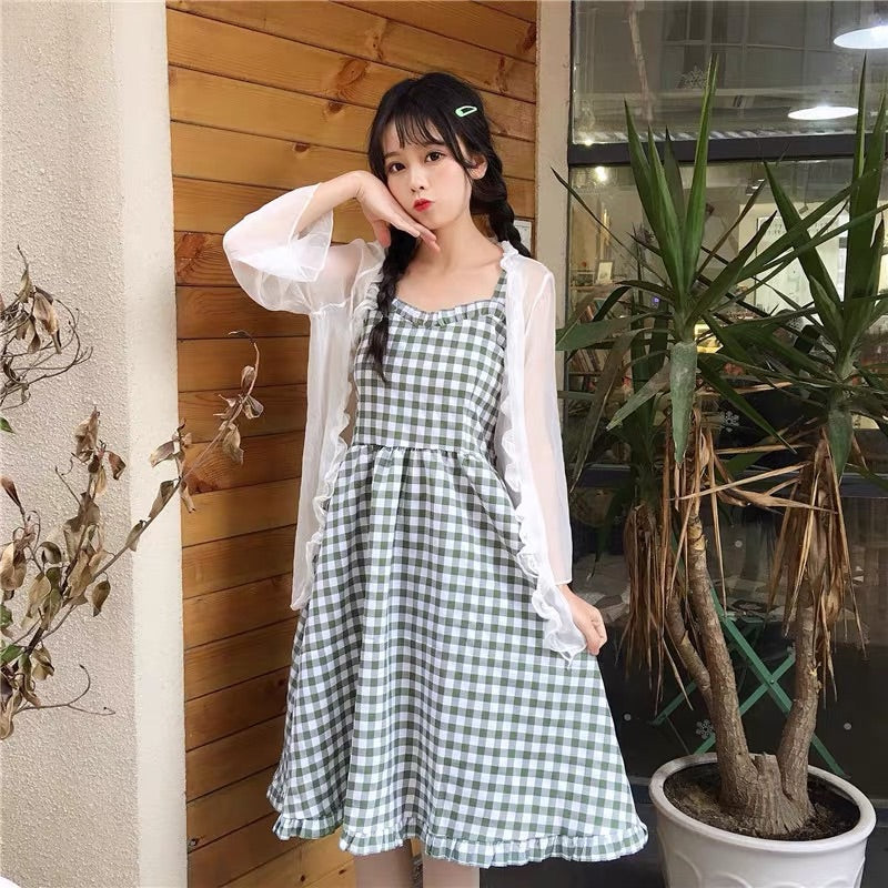 SWEET CHECKER HIGH-WAIST DRESS BY71053
