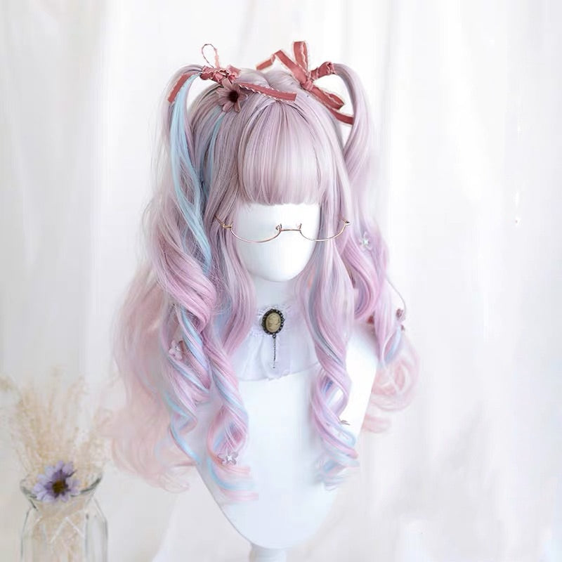 ALEEBY COS PINK BLUE MIXTURE WIG BY31155