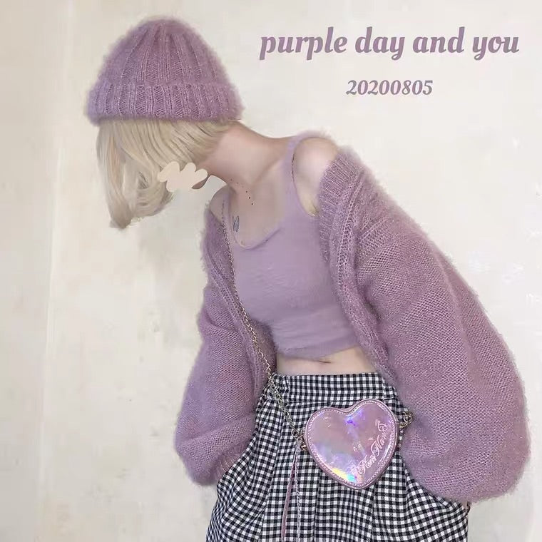 PURPLE/WHITE/PINK VELVET KNIT VEST BY47777