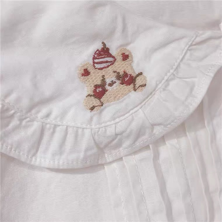 "JAPANESE ""CHERRY & BEAR"" EMBROIDERED SHIRT BY44444"