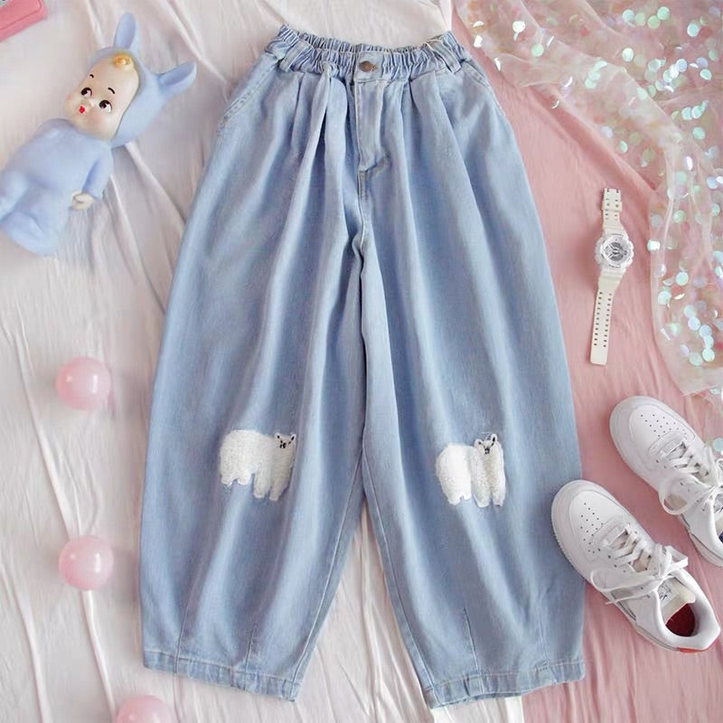 CUTE SHEEP EMBROIDERY DENIM PANTS/HAREM PANTS BY30701