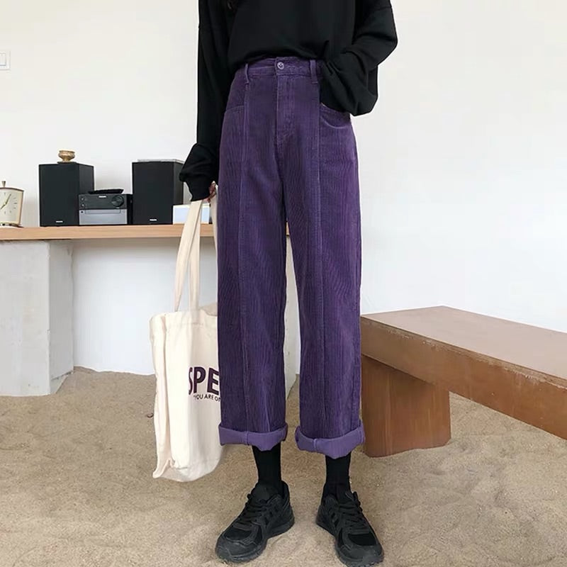 RETRO CORDUROY PURPLE CASUAL PANTS