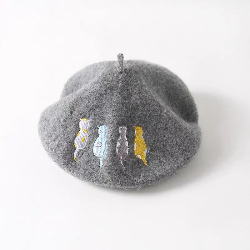 5 COLORS CUTE CAT WOOL BERET BY31002