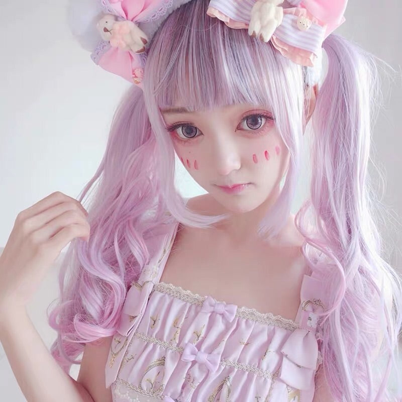 LOLITA PINK INK LONG CURLY WIG BY31069