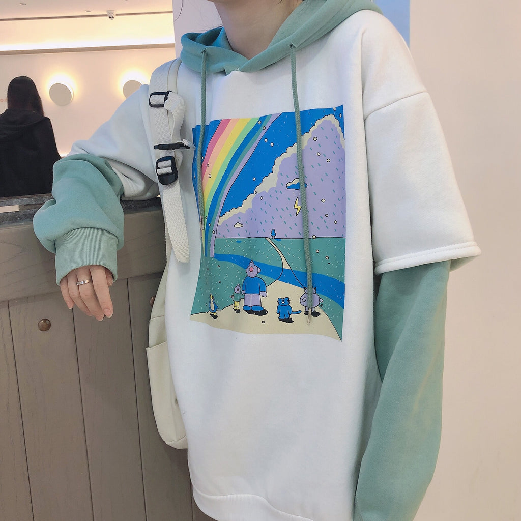 KOREAN RAINBOW FAKE TWO PIECES THICK HOODIE BY23238
