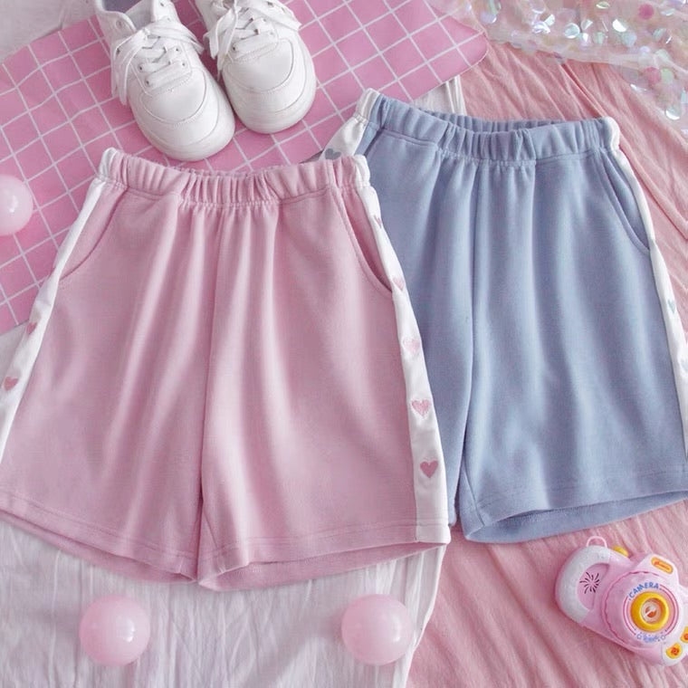 JAPANESE CUTE HEART EMBROIDERY BESTIE SHORTS BY50082