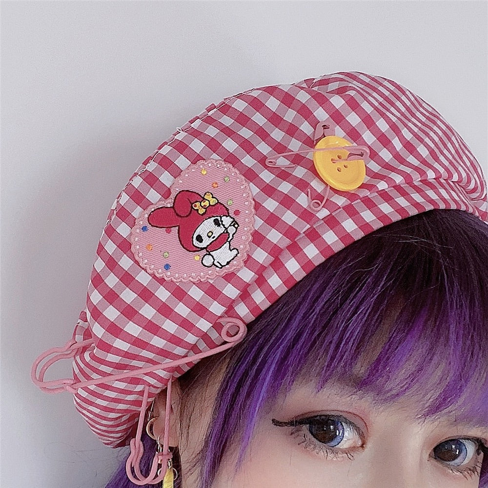HARAJUKU CARTOON SOFTGIRL BESTIE PLAID SUMMER BERET HAT BY90803