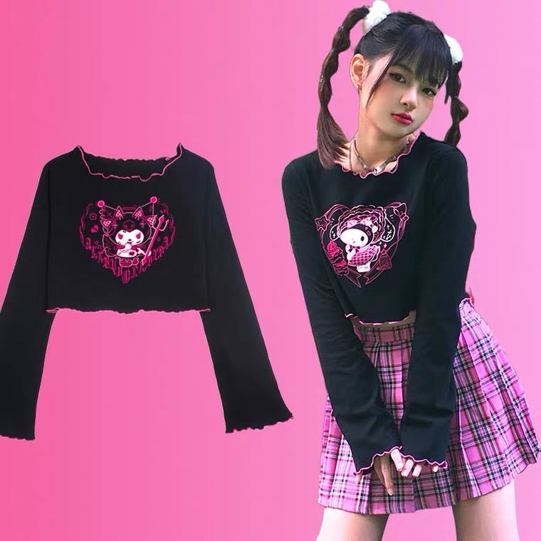 CUTE KUROMI MELODY PRINT SHORT T-SHIRT BY20003