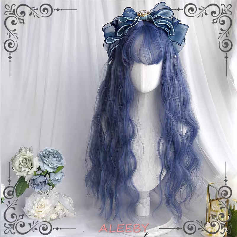 2020 ALEEBY BLUE WATER WAVE AIR BANGS LONG CURLY WIG BY42003