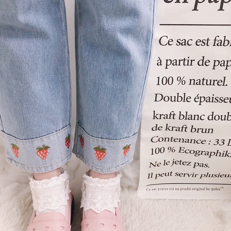 CUTE STRAWBERRY DENIM PANTS BY63117
