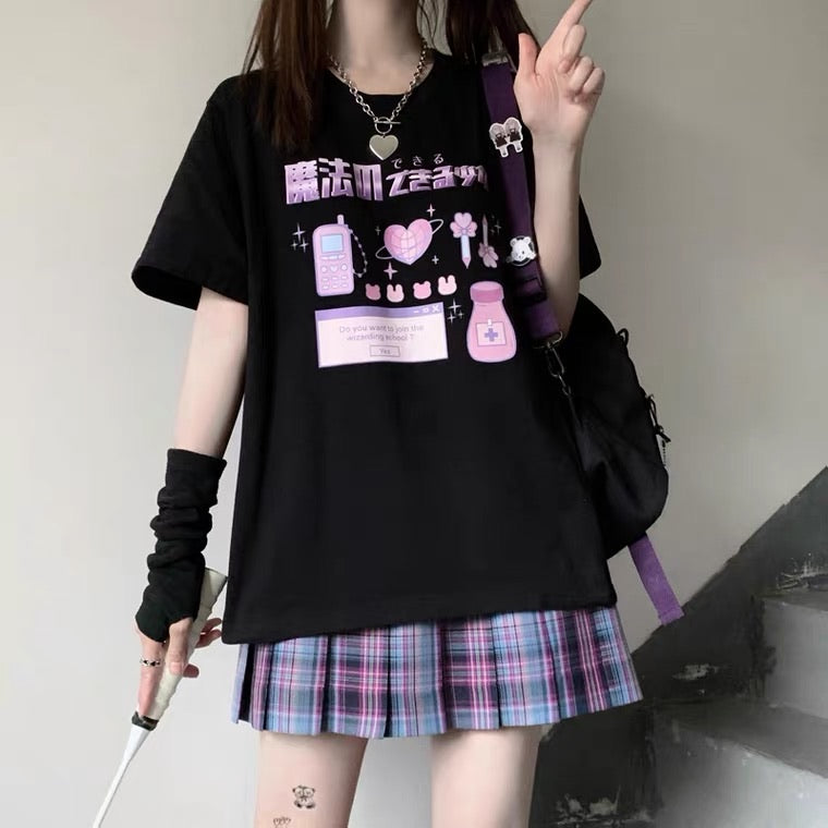 "JAPANESE ""MAGIC"" PREPPY PRINT OVERSIZE T-SHIRT BY50044"