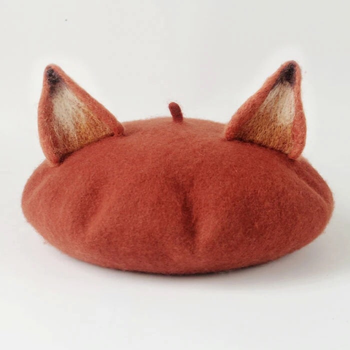 HANDMADE WOOL FOX BERET BY51044