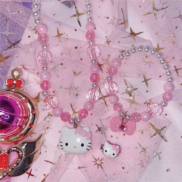 "INS CUTE ""HELLO KITTY"" NECKLACE & BRACELET & RING 3 PIECES BY50030"