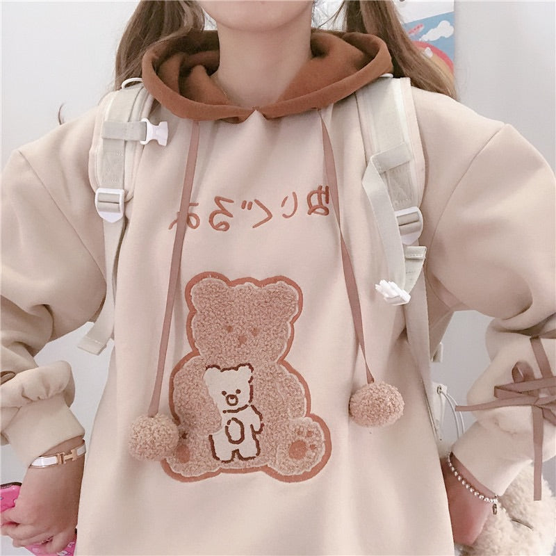 JAPANESE CUTE BEAR VELVET HOODIE BY99222