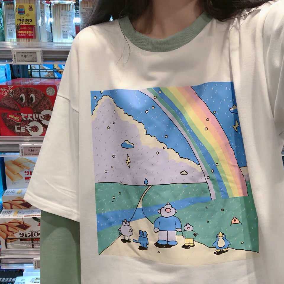 RAINBOW FAKE TWO PIECES SHIRT BY22601