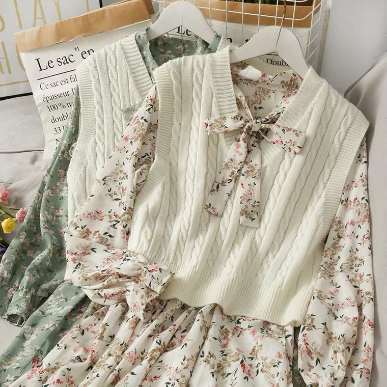 SWEET FLORAL BOW DRESS & KNIT VEST SUIT BY57777