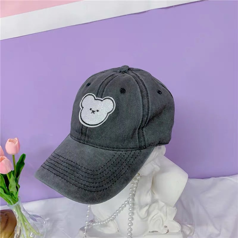 3 COLORS CUTE BEAR BASEBALL CAP BY00520