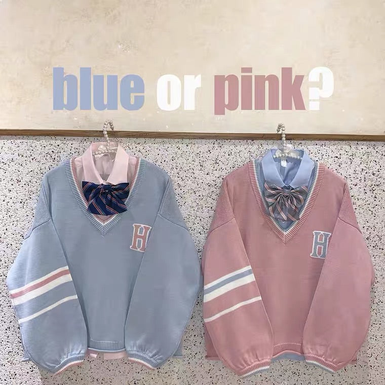 PREPPY STYLE PINK BLUE V-COLLAR SWEATER BY55555