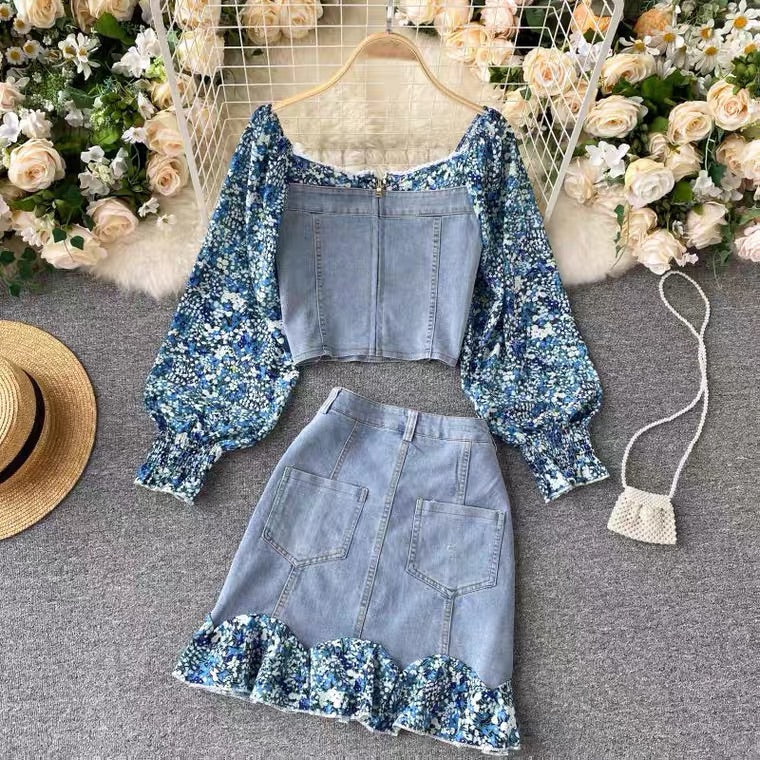 SWEET FLORAL DENIM STITCHING SUIT BY97333