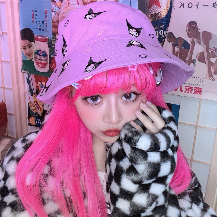 JAPANESE HARAJUKU CARTOON EMBROIDERY FISHERMAN HAT BY39005