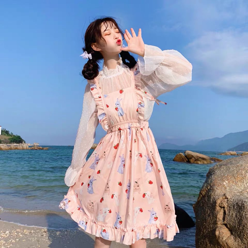 JAPANESE STRAWBERRY RABBIT DRESS+POINT CHIFFON SHIRT BY71066