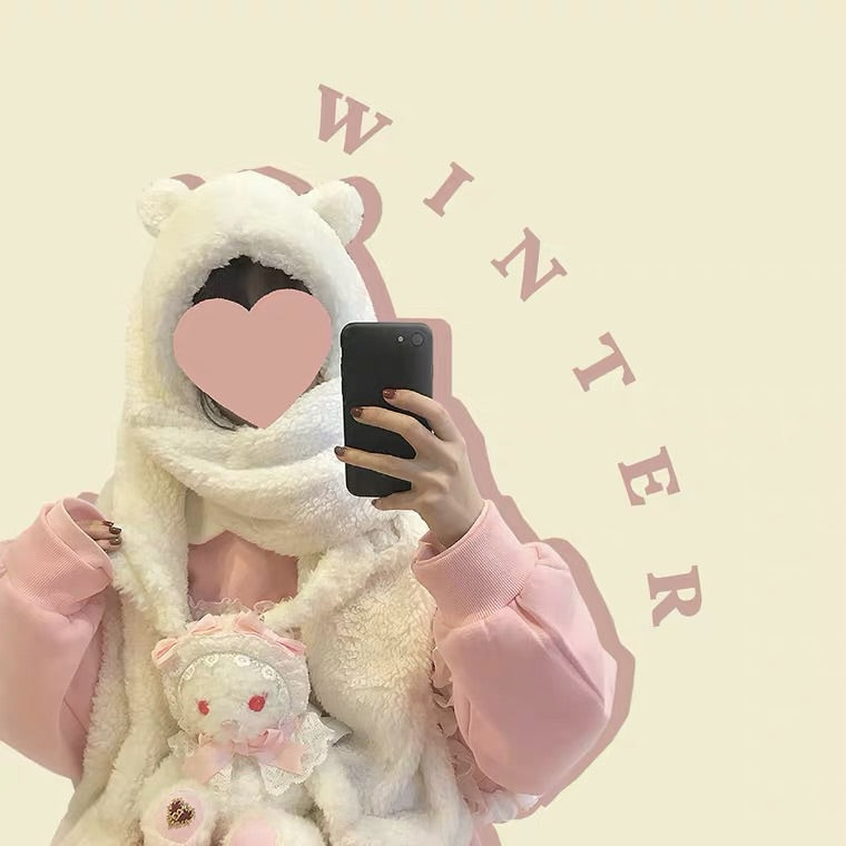 CUTE BEAR PLUSH SCARF HAT BY88666