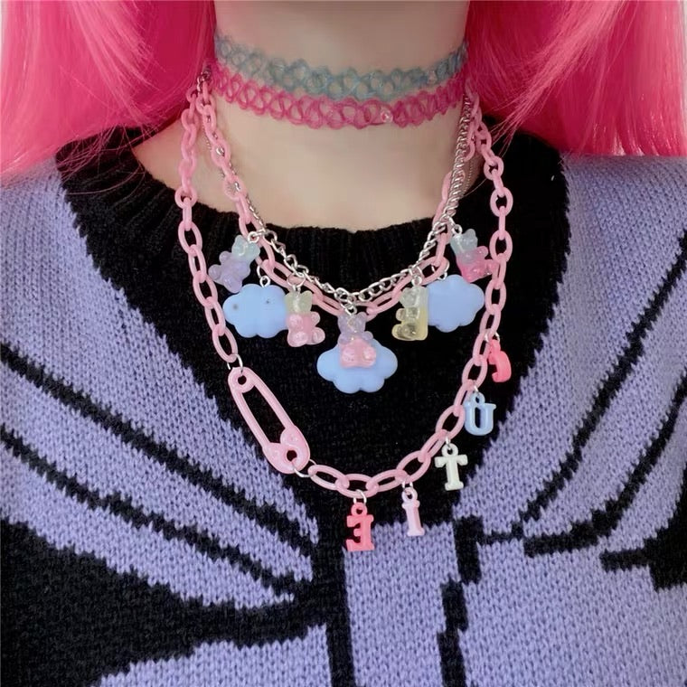 INS CUTIE CLOUDS BEARS NECKLACE BY50026