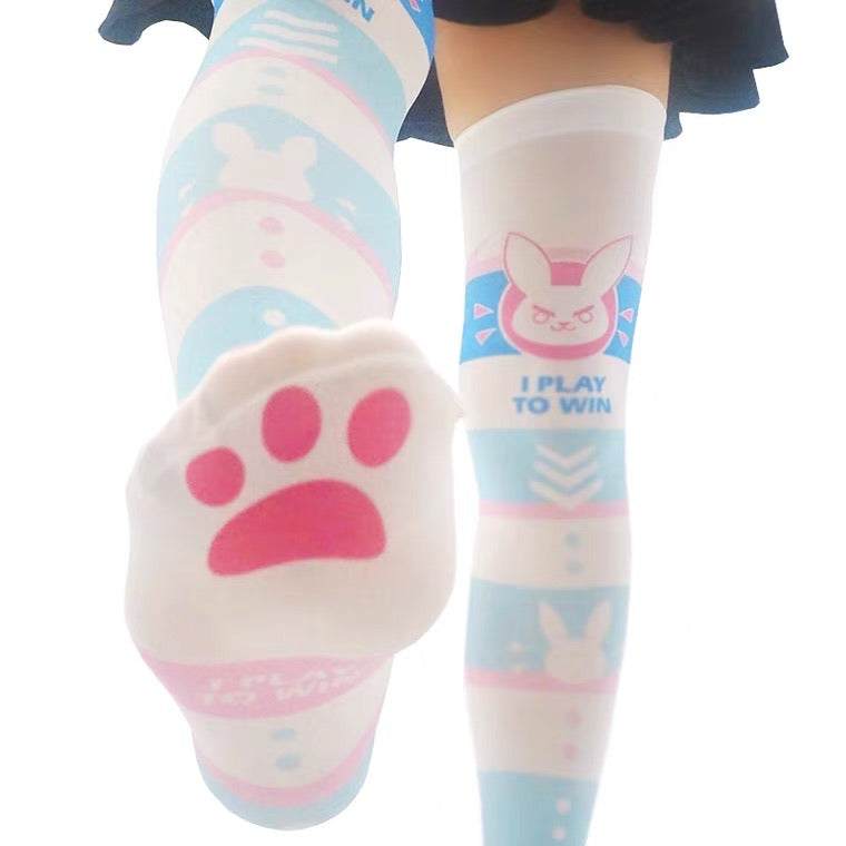 LOLITA CUTE CAT CLAW BUNNY PRINT KNEE SOCKS BY50045
