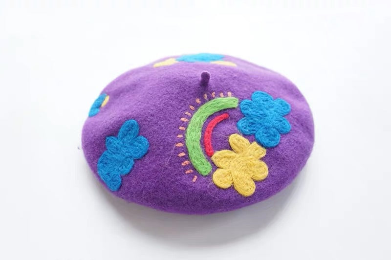 RAINBOW CLOUDS PURPLE BERET BY51100