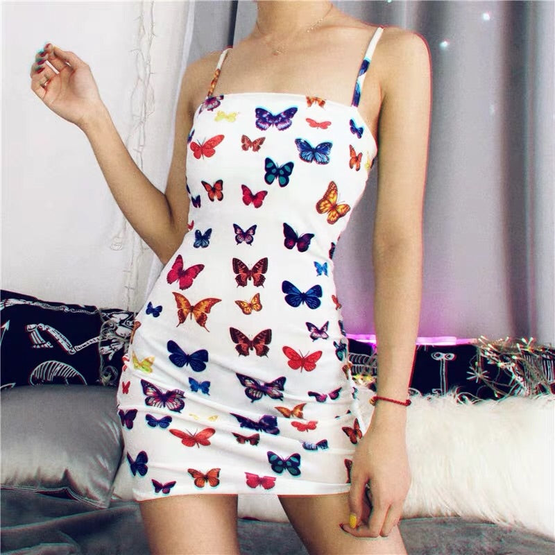 2019 NEW SUMMER SEXY BUTTERFLY PRINT SHORT SLIM DRESS BY71102