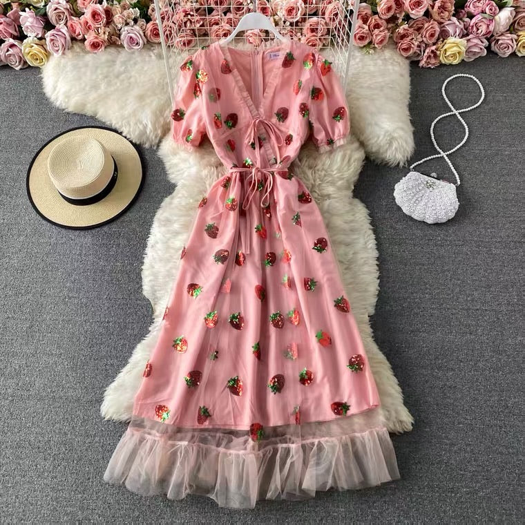 SWEET STRAWBERRY V-COLLAR DRESS BY50035