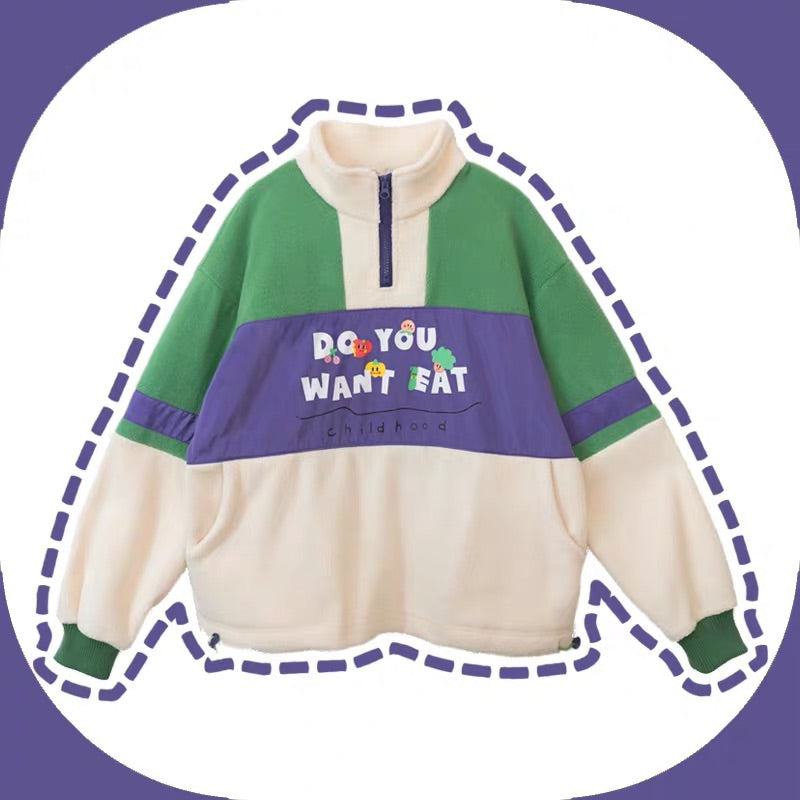 JAPANESE CHILDHOOD STITCHING SWEATSHIRT