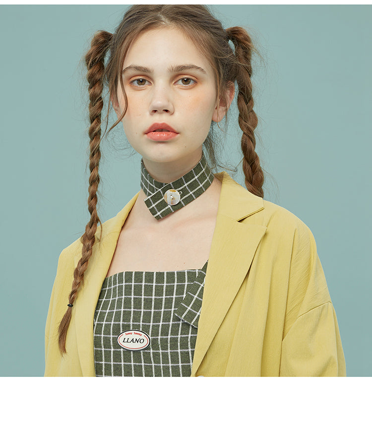 ULZZANG PLAID COLLAR BONE NACKLACE