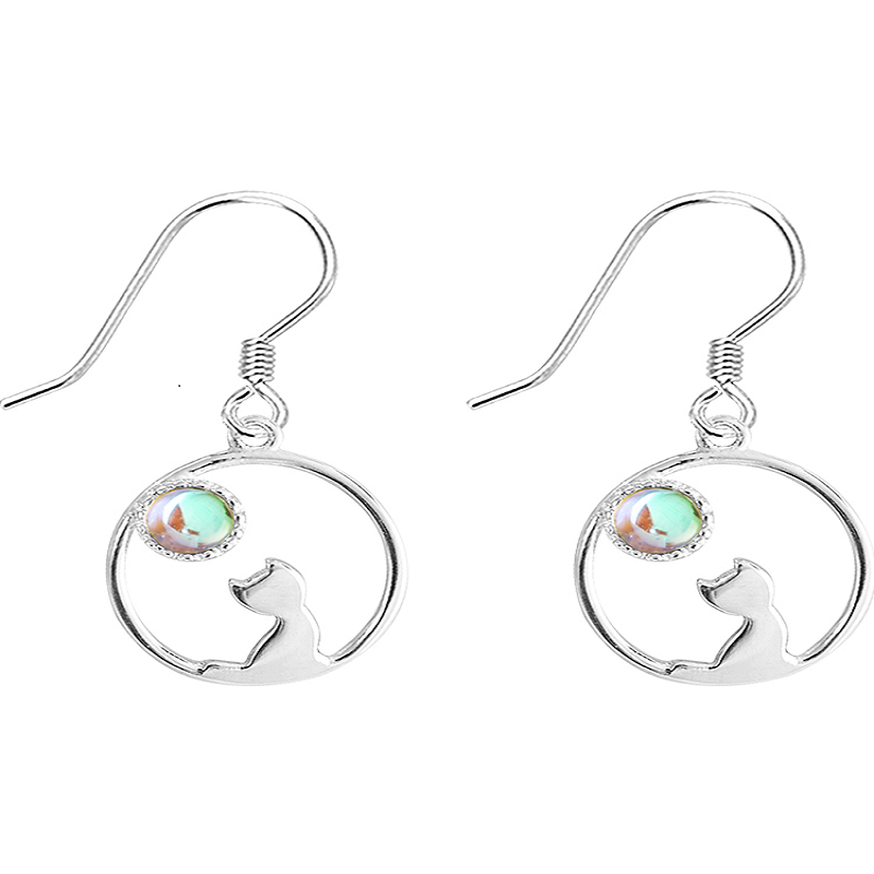 CUTE CAT LOOK STERLING SILVER EARRINGS
