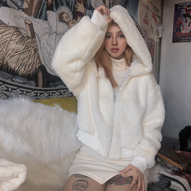 WHITE HOODED PLUSH COAT BY24085
