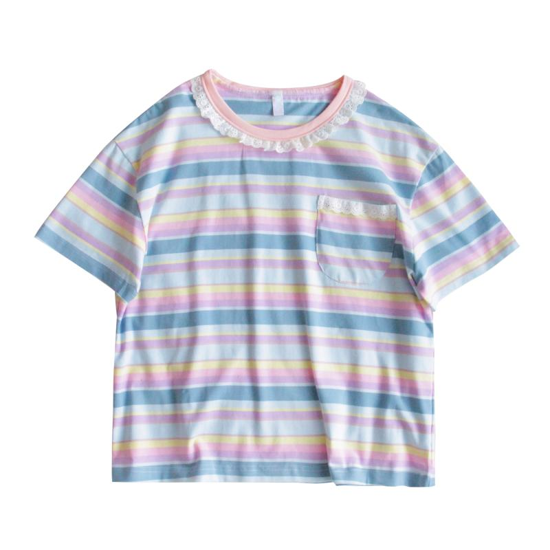 HARAJUKU SUMMER LOOSE MACARON-COLOURED T-SHIRT BY22261