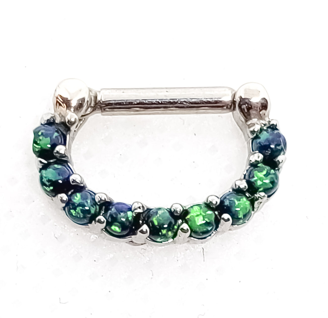 14 Gauge Septum Clicker With Green Opals