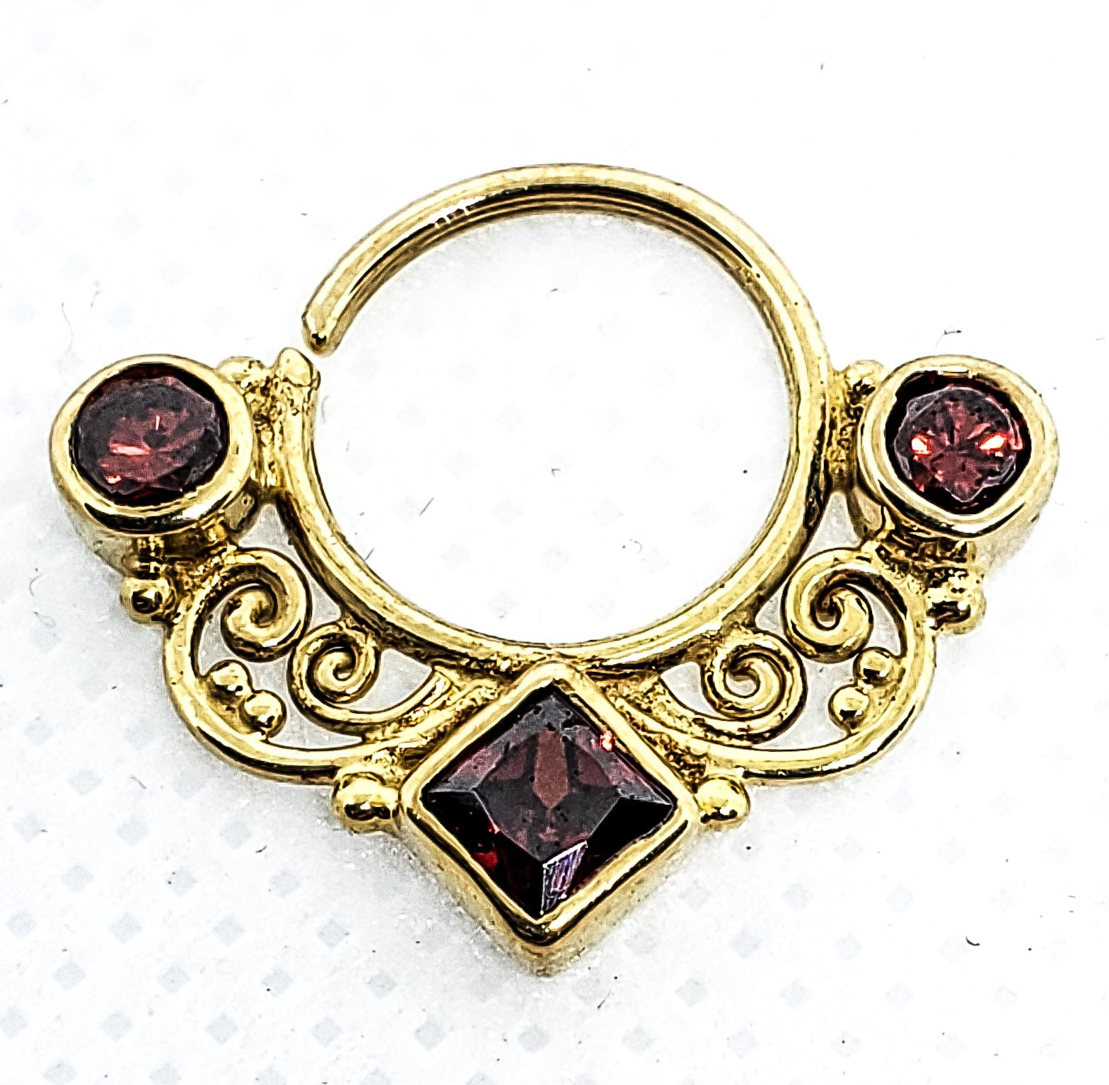 16 Gauge 14K Gold Plated Bendable Ring With Rubies.